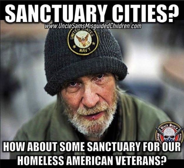 How about sanctuary for our homeless American vets!  #StopSanctuaryCities  #MAGA #Trump #Inauguration