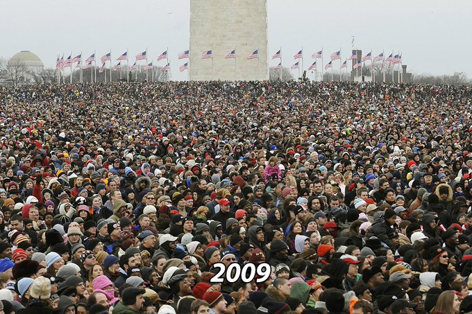 LOL #Obama's inaugural concert in 2009 (first two photos) vs. #Trump's #InauguralConcert today. TRAGIC.