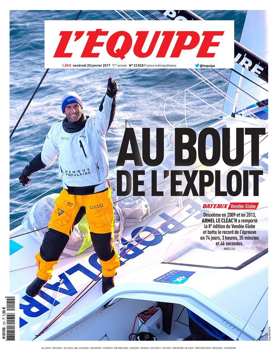 RT @lequipe: Le Vendée Globe en Une de notre édition de ce vendredi. AU BOUT DE L'EXPLOIT ! ⛵️ https://t.co/iT9wLVNbpN