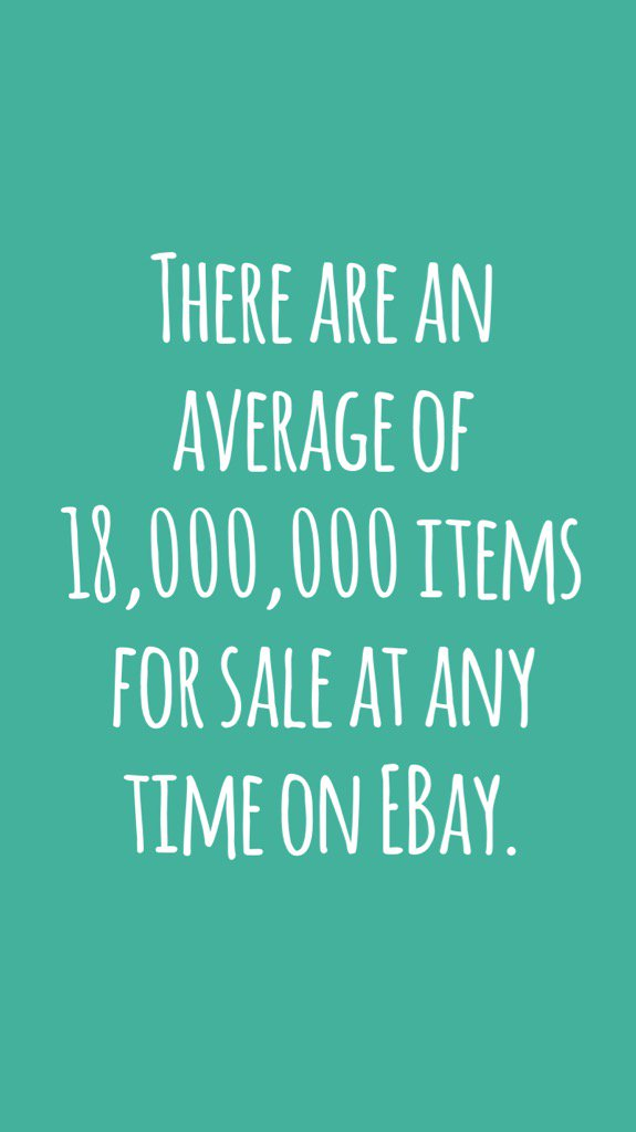 There are an average of 18,000,000 items for sale at any time on EBay. #didyouknow https://t.co/djxeuh0s3A https://t.co/x78GpMiJu1