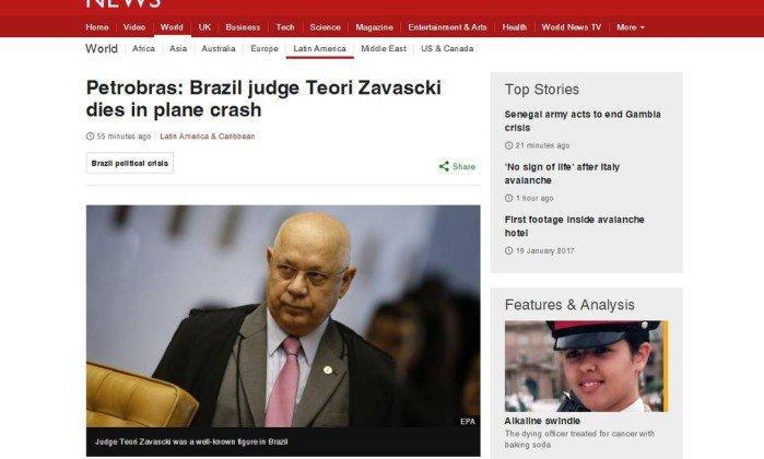Morte de Teori é destaque na imprensa internacional.