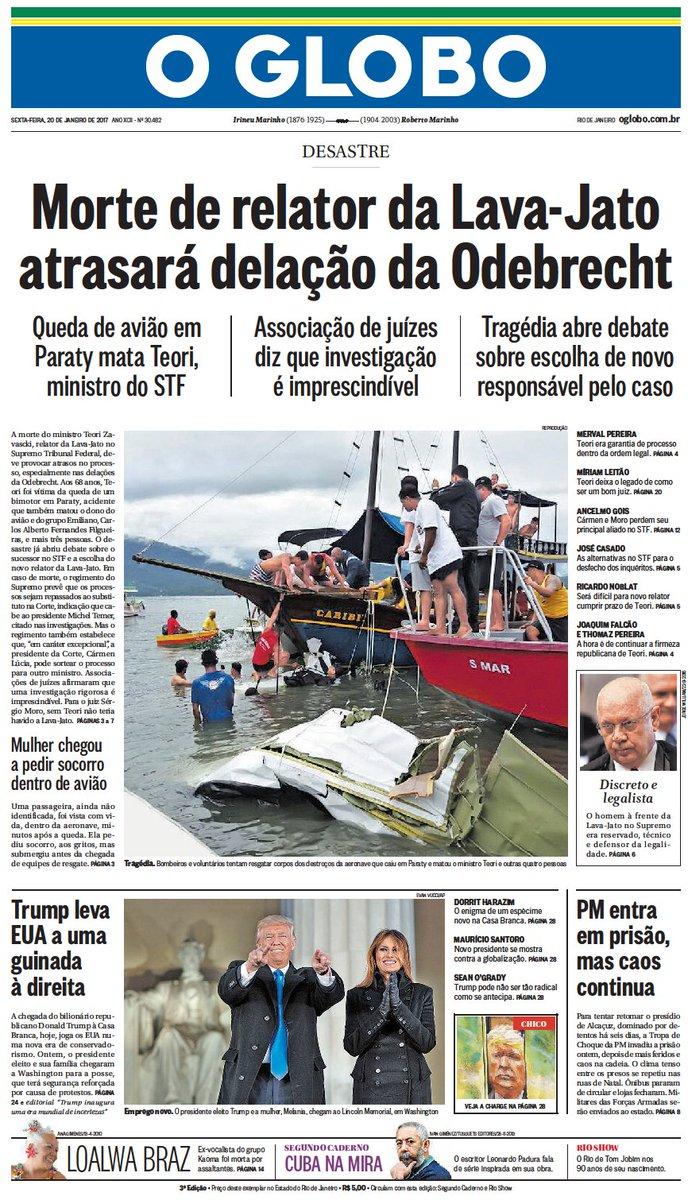A capa do #JornalOGlobo desta sexta-feira. https://t.co/xhXP4Xj7oX
