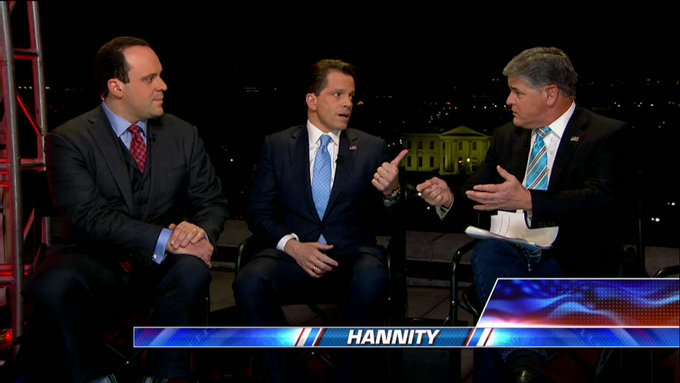 """.@Scaramucci on @realDonaldTrump: """"He's a disruptive entrepreneur at the top of the food chain of the American government."""" #Hannity"""
