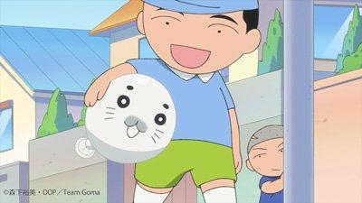 【今日のゴマちゃん】ゴマちゃん風船をゴマちゃん抱きするサカタ兄。#少年アシベ