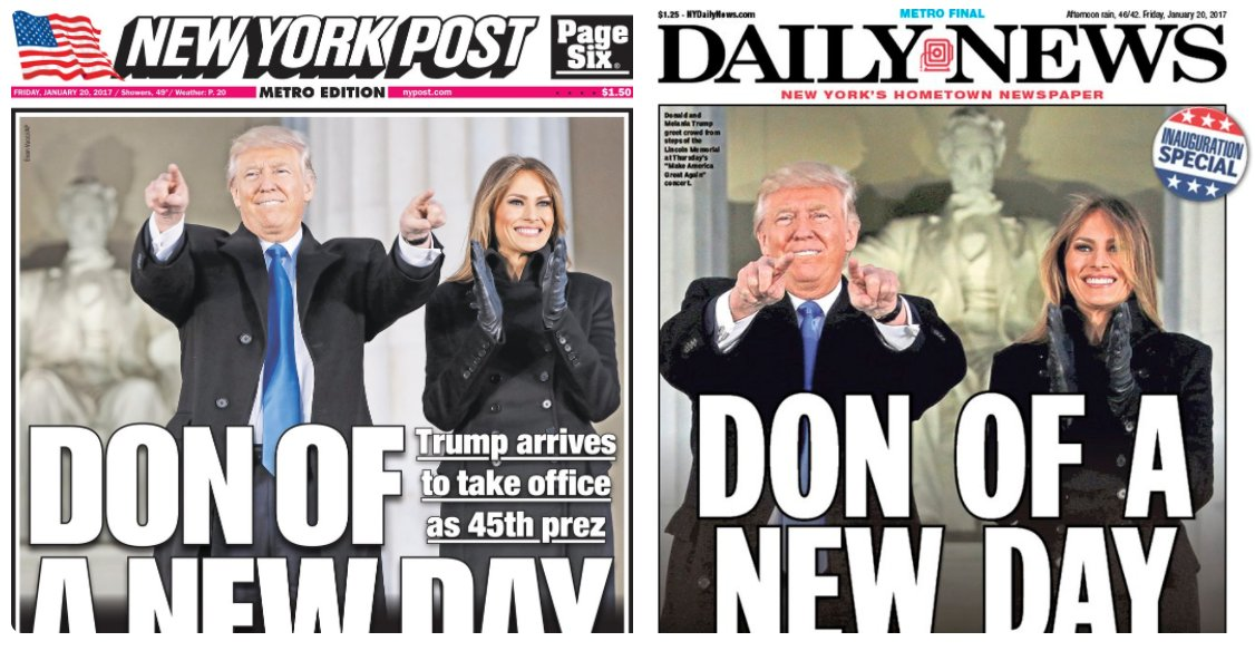 NYC tabloids print nearly identical inauguration covers