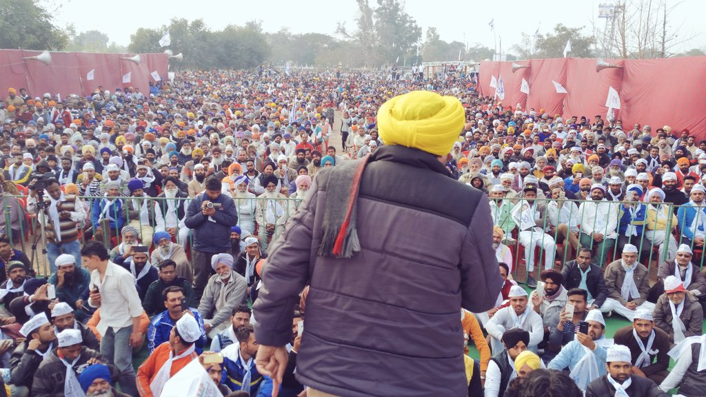 Huge crowd gathered in @BhagwantMann's Punjab Inquilab rally at Malerkotla