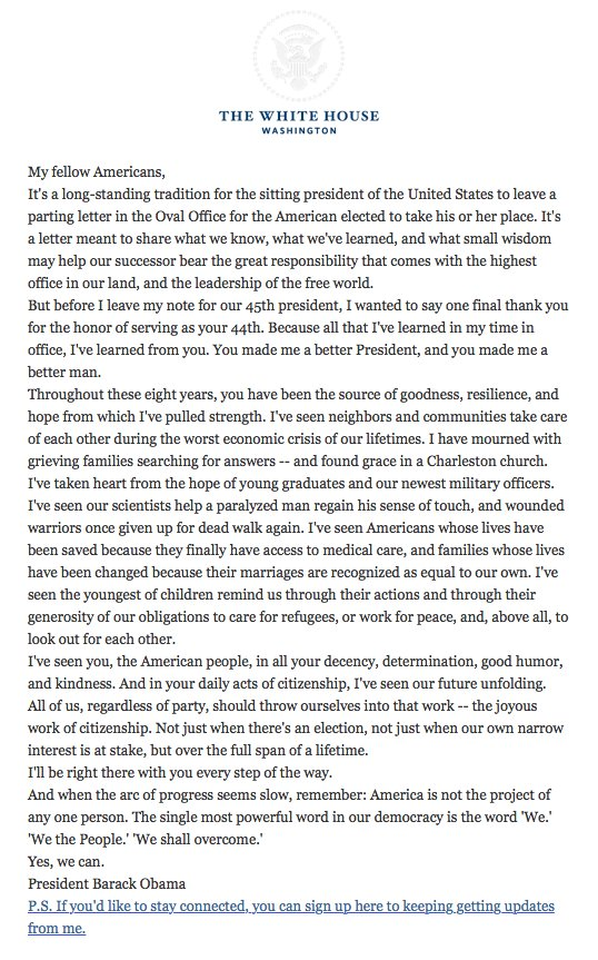 """You made me a better President, and you made me a better man."": President Obama pens a final goodbye letter to his fellow Americans"
