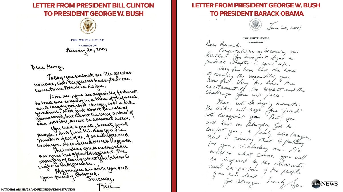 Bill Clinton's letter to George W. Bush & George W. Bush's letter to Barack Obama made public for 1st time https://t.co/Ce7wcw8oyE