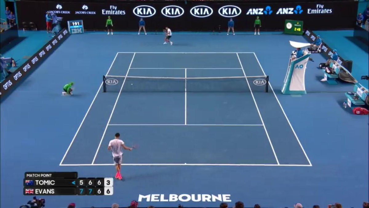 Bernard #Tomic OUT of the #AusOpen! Dan Evans with a big victory.