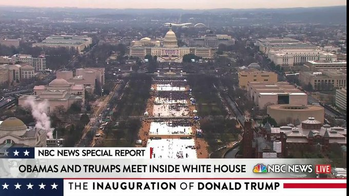 The current view of the National Mall hours ahead of the #Inauguration.