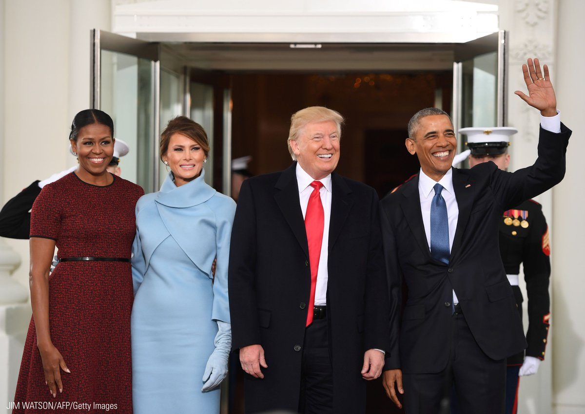 President Obama and First Lady Michelle Obama welcome President-elect Donald Trump and his wife Melania Trump to the White House. #Trump45