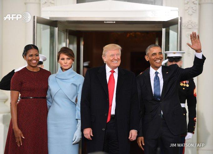 #instantanés: arrivée de Donald Trump à la Maison Blanche pour un dernier entretien avec Obama #AFP #InaugurationDay