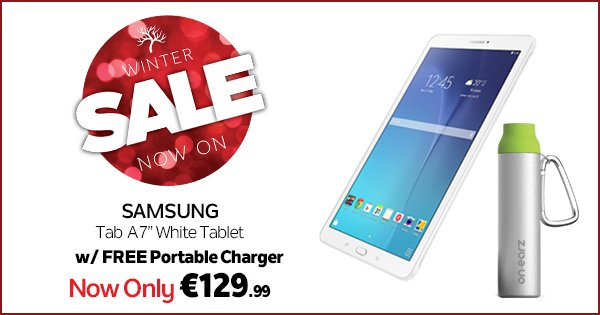 "Get the Samsung Tab A 7"" tablet and a portable charger for just €129.99! Also available in Black. https://t.co/11Qd7UIaqw"