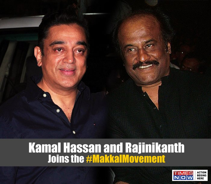Kamal Haasan and Rajnikant show solidarity towards the #MakkalMovement in support of Jallikattu