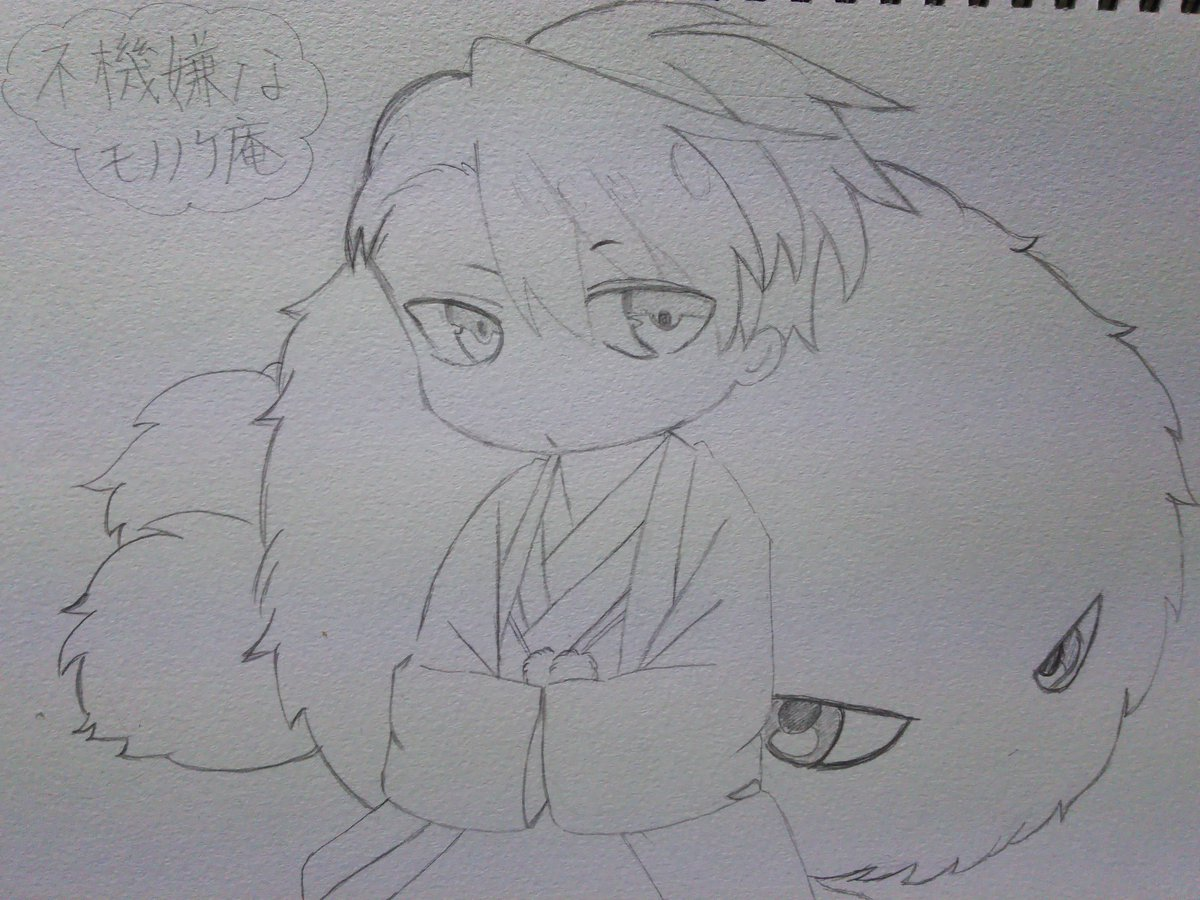 モノノケ庵のイラスト描いてみたよ( v^-゜)♪安部さんとモジャ(*´∀`)♪