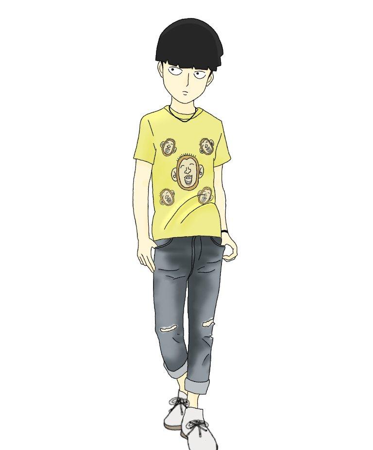 #RTされた数だけハゲモンTシャツをつかったコーデを考えてモブくんに着せる第1弾はシンプルにハゲモンTシャツにデニムをあ