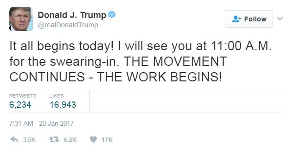 'It all begins today!' President-elect @realDonaldTrump tweeted this message on his #InaugurationDay #Trump45