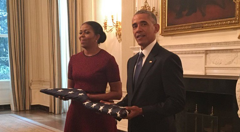 White House staff presented the Obamas with the American flags that were flown on the first and last days of the Obama presidency.
