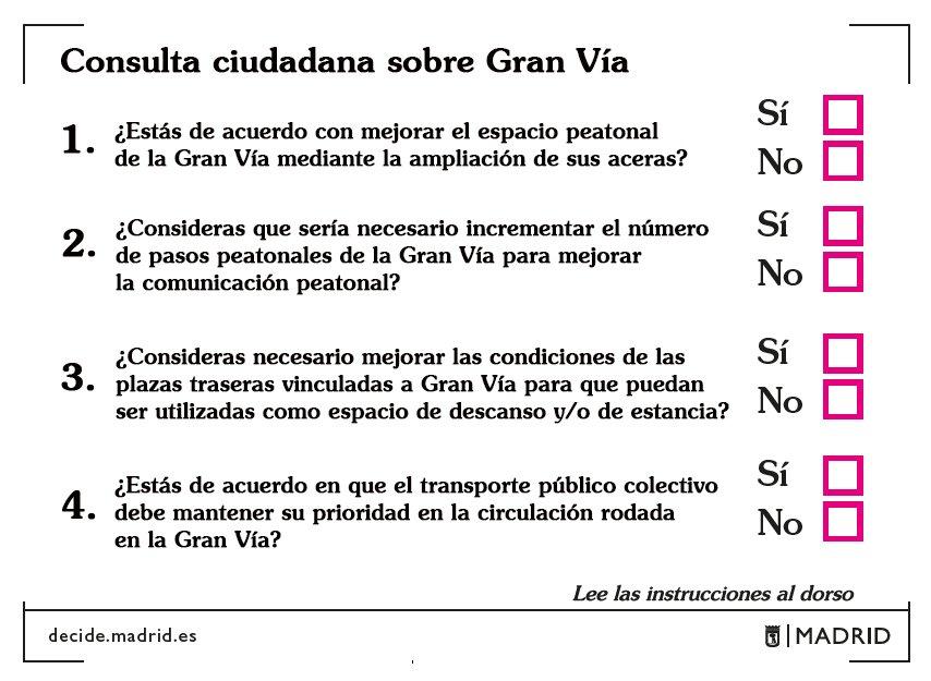 La consulta ciudadana que vamos a hacer sobre la Gran Vía será del 13 al 19 de febrero.