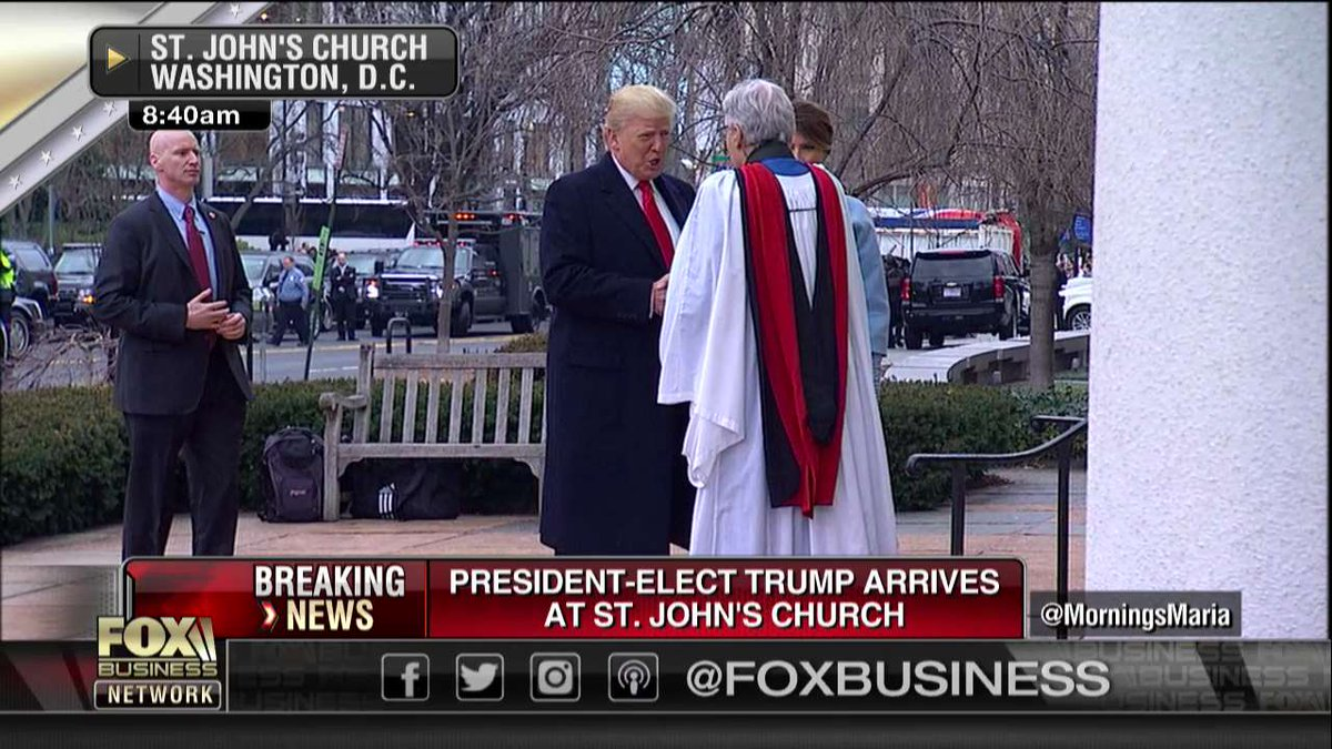 Watch President-elect #DonaldTrump arrive at St. John's church ahead of his #Inauguration #TRUMP45