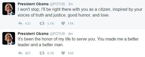 President Obama tweets a final goodbye as @POTUS.