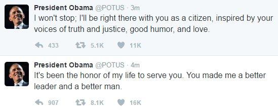 President Obama tweets a final goodbye as @POTUS.