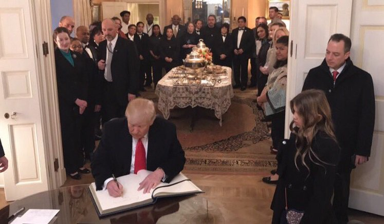 This morning, Pres.-elect Trump signed the guest book at Blair House, The President's Guest House, where he stayed overnight Thursday.