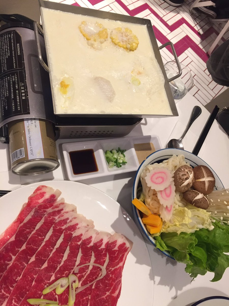Hot Pot #Friday: beef, udon, vegetables and a milk-based soup. #HongKong #foodie #TGIF