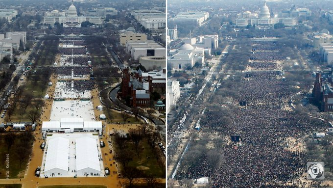 Nationalmall in Washington, D.C.: Links bei #Trump-Vereidigung 2017, rechts bei #Obama-Vereidigung 2009 #Inauguration