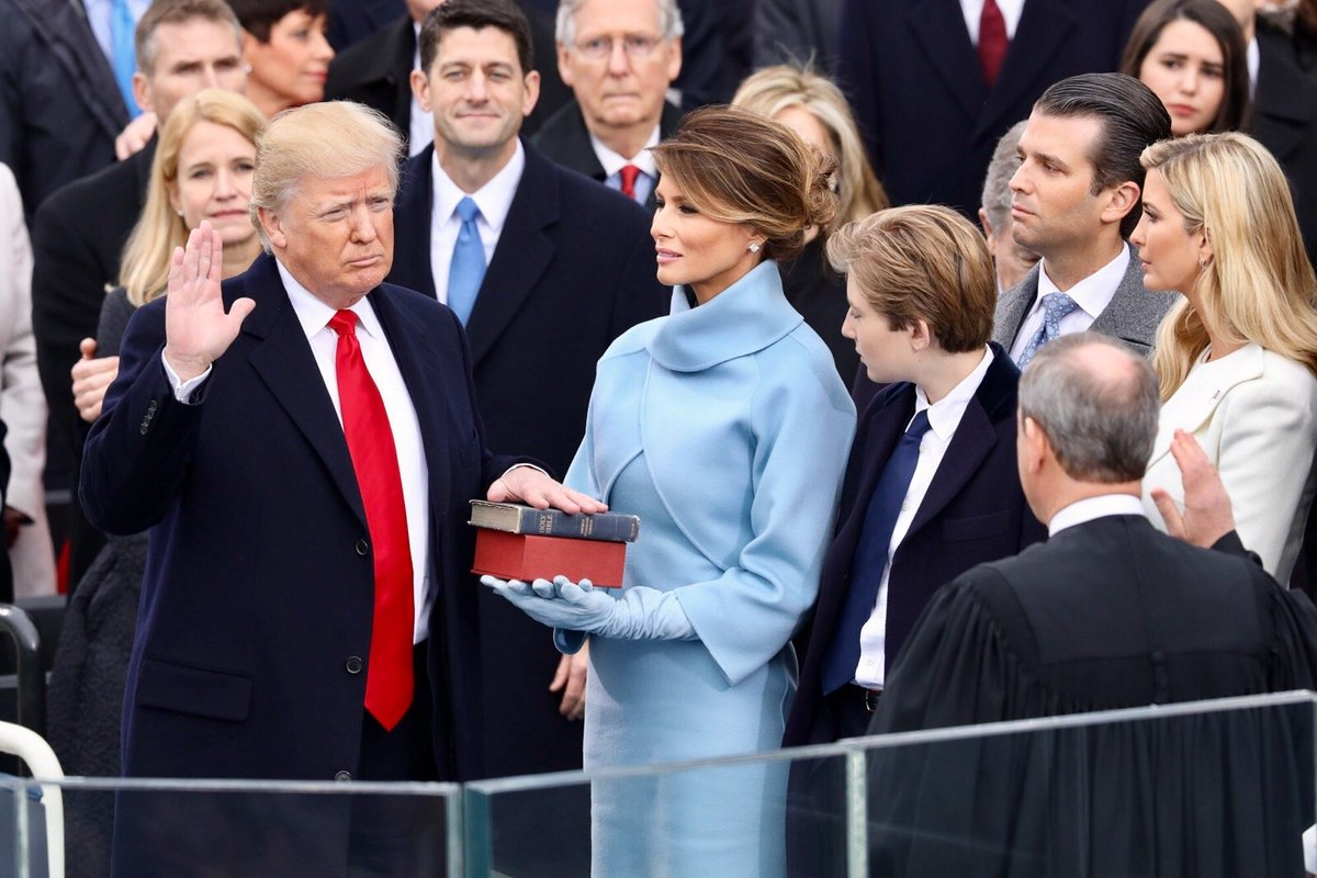 An incredible moment in American history — @POTUS Trump taking the oath of office.