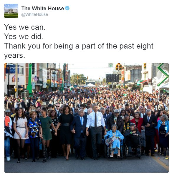 .@WhiteHouse tweets 'Yes we can. Yes we did. Thank you for being part of the past eight years.'