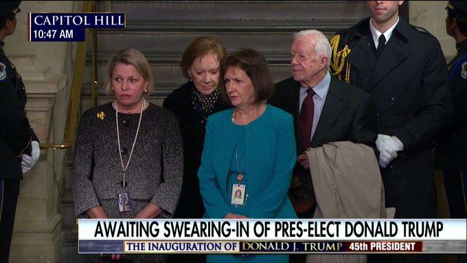 Former President Jimmy Carter and former First Lady Rosalynn Carter attend #Inauguration. #Trump45
