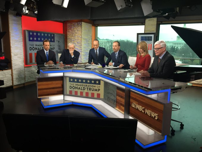 .@LesterHoltNBC anchoring #InaugurationDay coverage with @chucktodd, @tombrokaw, @NicolleDWallace, @BeschlossDC and @hughhewitt.