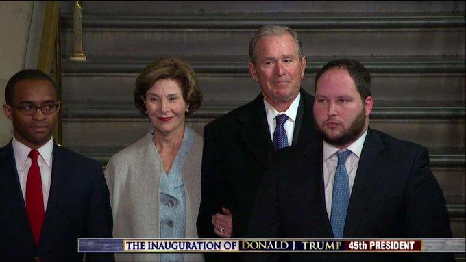 Former President George W. Bush and Former First Lady Laura Bush attend #Inauguration. #Trump45