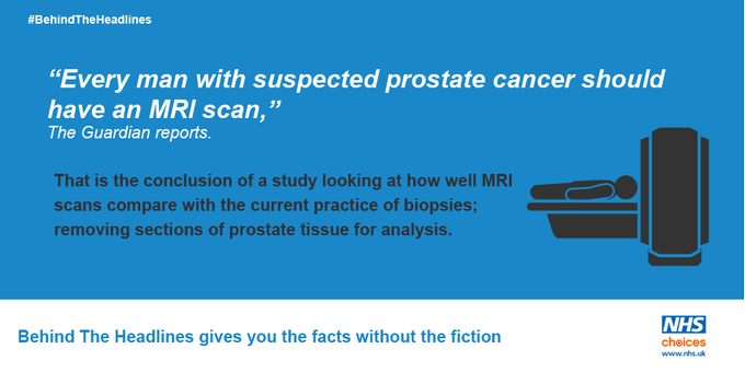 MRI scans could spare 25% of men from prostate biopsies. More on this news story here: https://t.co/V2vpoJQ3z9 #BehindTheHeadlines