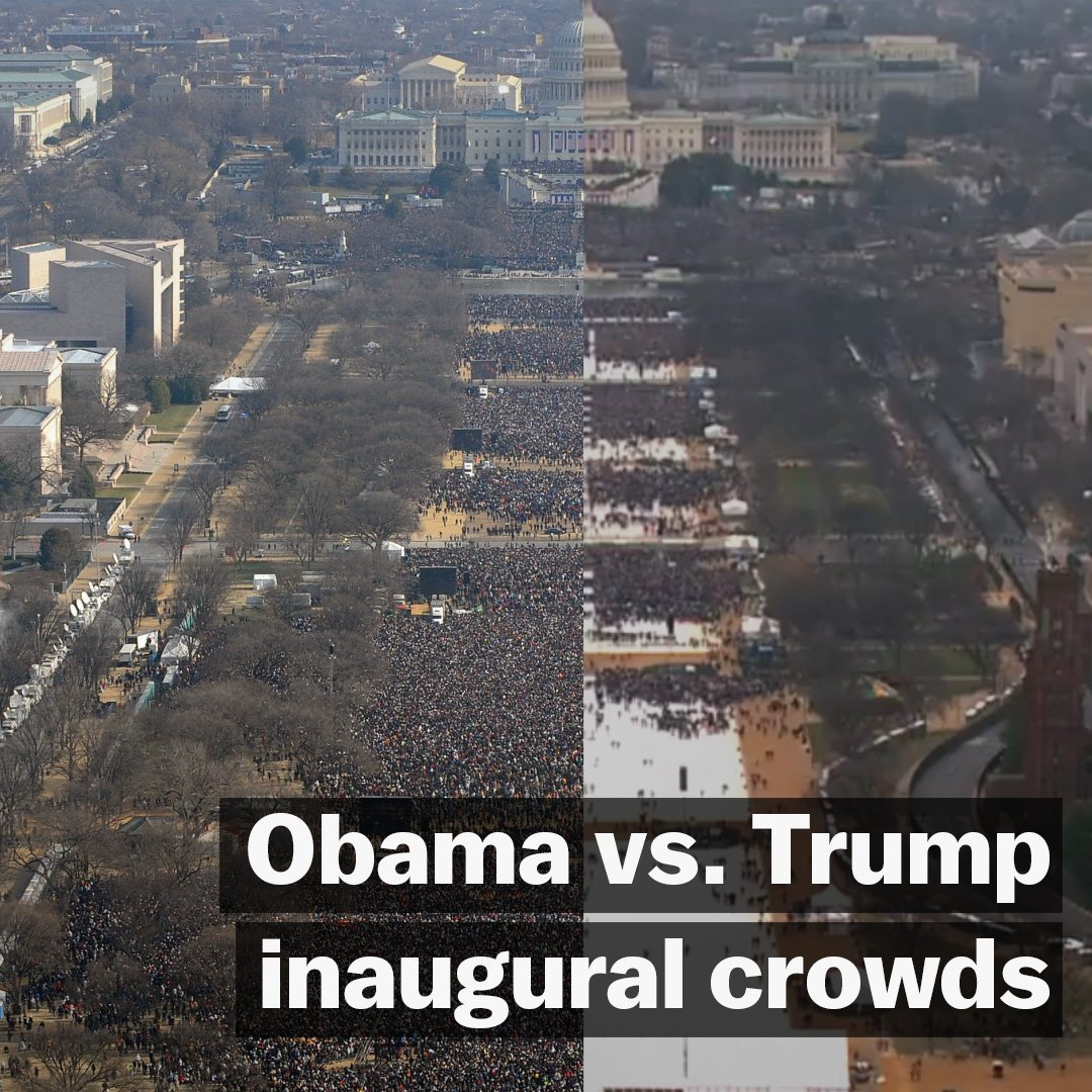 Aerial images reveal a stark difference in crowd size at Trump's #inauguration versus Obama's in 2009. https://t.co/asyPecPlvv