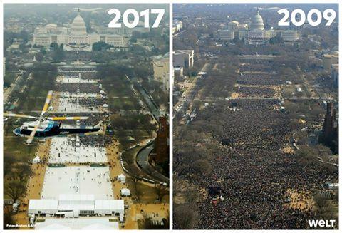 So sah es bei Trumps Amtseinführung aus – und so bei Obama. #Inauguration