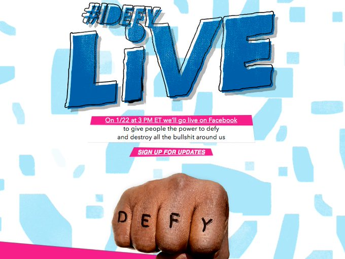 On 1/22 the power to destroy what you defy will be yours on Facebook Live. Tune into #IDEFY Live 3 PM ET. https://t.co/NL4PezKK78