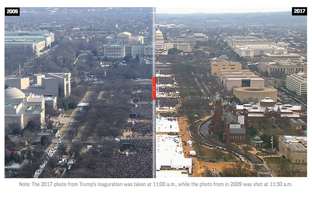 #InaugurationDay crowd comparison between Trump 2017 and Obama 2009. https://t.co/Ptzx7ObFd3