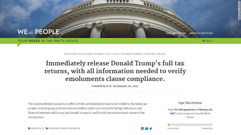 The 1st Donald Trump White House Petition is in: Release Trump's tax returns https://t.co/qwfNrBigKv https://t.co/5XDFZOG2lX