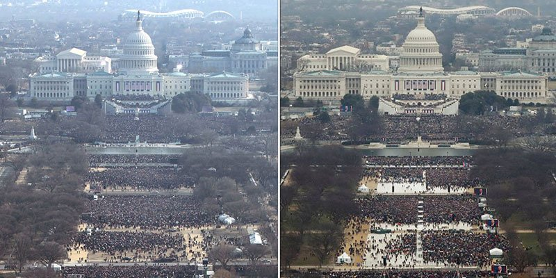 President Trump's inauguration crowd doesn't look like Barack Obama's did in 2009