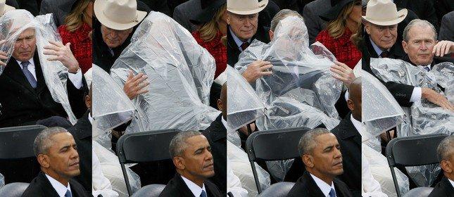George W. Bush se atrapalha todo com capa de chuva na posse de Trump. https://t.co/2vdOiUyfV2