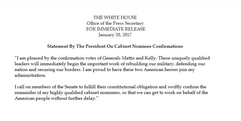 NEW: In his first official White House statement as president, Pres. Trump discusses confirmations of his Cabinet nominees.