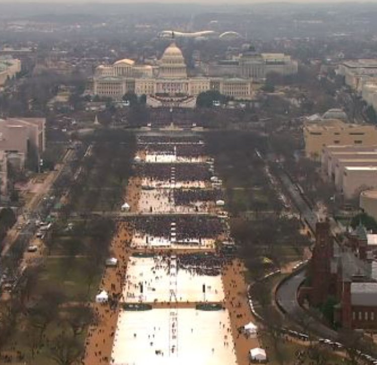 'Even the media said the crowd was massive,' President Trump said tonight, claiming crowd stretched 'to the Washington Monument.' Fact check
