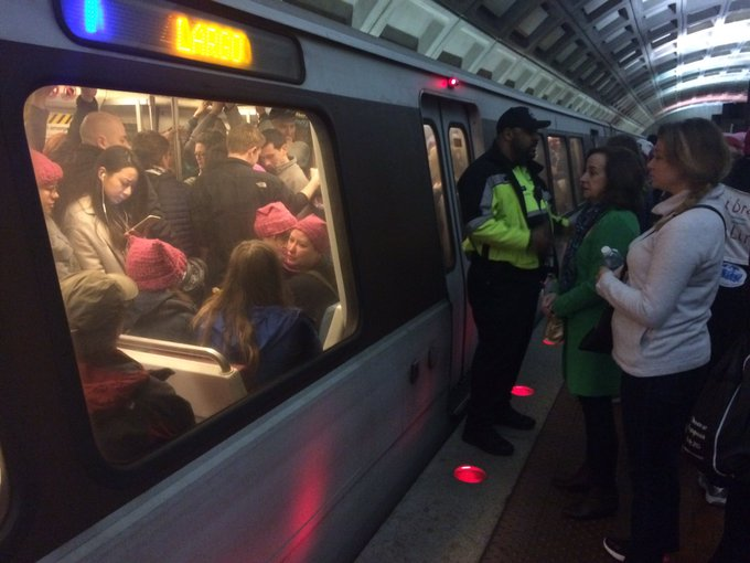 1. My train to the inauguration; 2. My train to the Women's March — or it was supposed to be, but it was too full for me to get on.