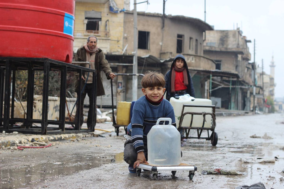 #Syria. Water shortage in Damascus due to conflict. We're supplying drinking water to schools.