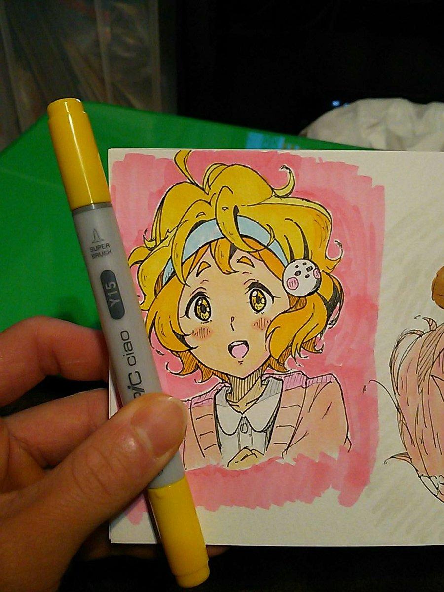 描いてみました~緑輝ちゃんヾ(*´∀`)✨✨金色に近い色が無いことに塗りながら気づいた...ペン買わなきゃ🎨🎨#anim