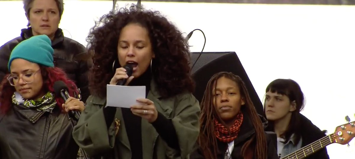 'No hate. No bigotry. No Muslim registry.' –Alicia Keys speaks and performs at the #WomensMarch. in D.C.