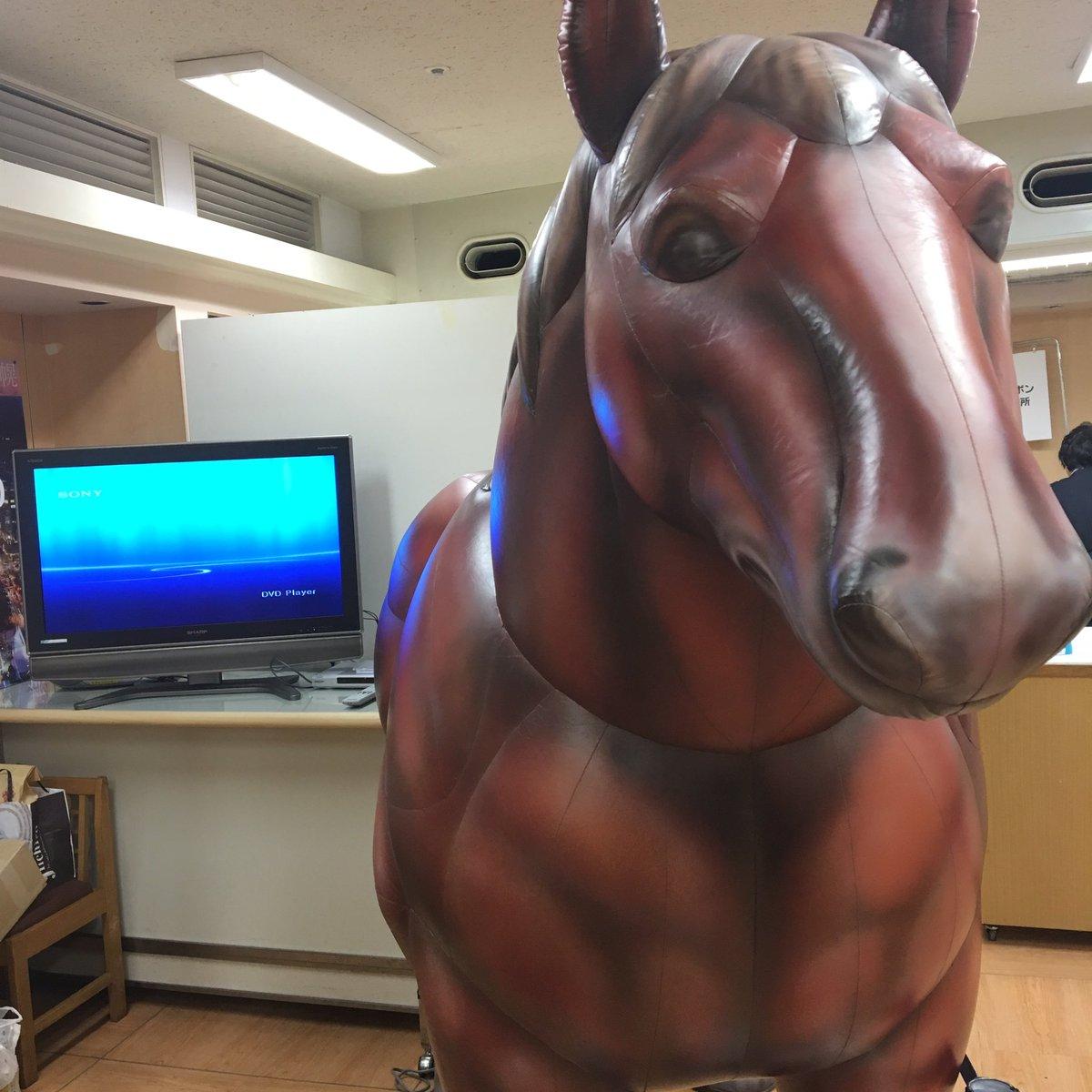 等身大輓馬がいたから見てきた。背中に乗った時の安心感凄そう。ばんえい競馬見たいなぁ。銀の匙で見ました!って関係者の方に伝