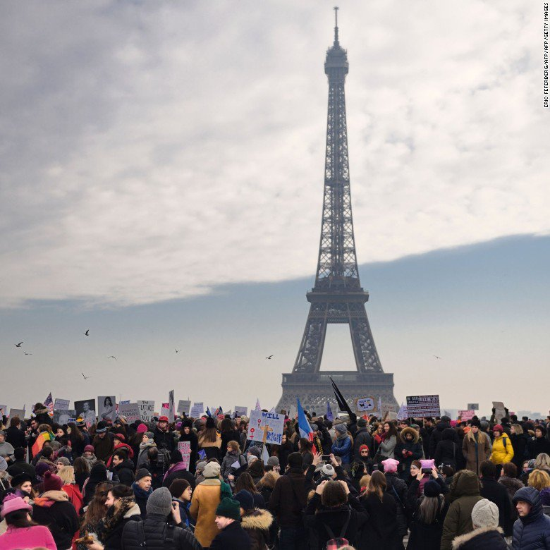 #WomensMarch attendees gather near the Eiffel Tower in Paris https://t.co/imOTesoEx6